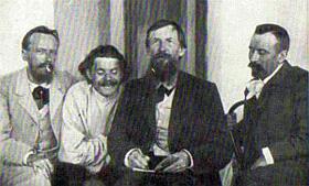 Среди друзей. Слева направо: А. Н. Алексин, A. М. Горький, B. М. Васнецов, Л. Д. Средин. 1900.