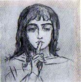 В. М. Васнецов. Ангел Молчания. Рис. углем на стене мастерской. Начало 1900-х.
