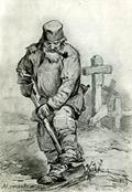 В.М. Васнецов. Могильщик. 1871 г. Бумага, граф. карандаш. ГТГ.