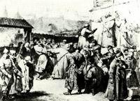 В.М. Васнецов. Царь Алексей Михайлович в селе Коломенском. 1871 г. Бум., гр. кар. ДМВ