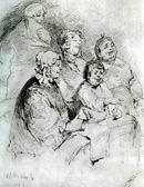 В.М. Васнецов. Купеческое семейство в театре. 1869 г. Бумага, сепия, граф. карандаш, перо. ГТГ.