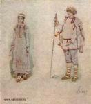 В.М. Васнецов. Снегурочка и Лель. Эскиз костюмов для оперы Н. А. Римского-Корсакова «Снегурочка». Около 1885 г.