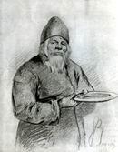 В.М. Васнецов. Монах-сборщик. 1868 г. Бумага, граф. карандаш. ГТГ.