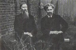 В. М. Васнецов и В. И. Суриков в саду дома. 1908.