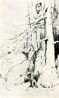 В.М. Васнецов. Иллюстрация к басне И.А. Крылова «Ворона и лисица». 70-е годы XIX века. Бум., гр. кар. ДМВ.