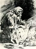 В.М. Васнецов. Обитательница углов. 1869 г. Бум., гр. кар. ДМВ.