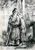 В.М. Васнецов. Ночной сторож. 1869 г. Бум., гр. кар. ДМВ